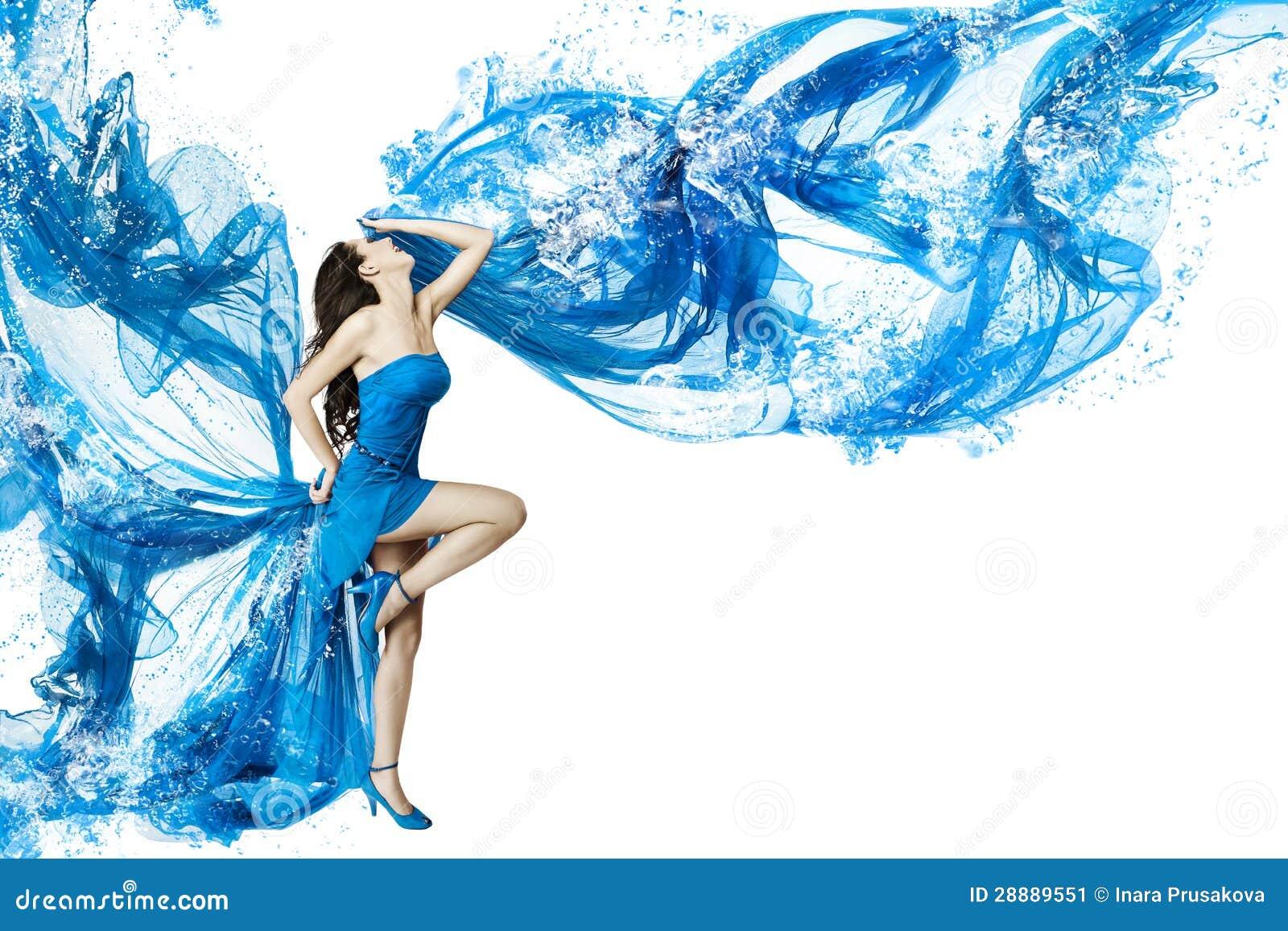 Woman dance in blue water dress