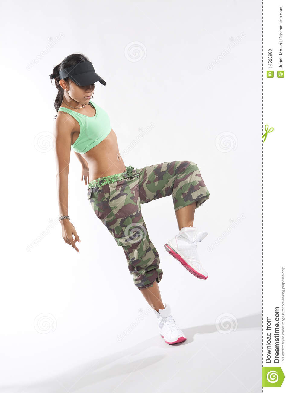 Hip Hop Dance Group Poses Woman dancer in hip hop attire