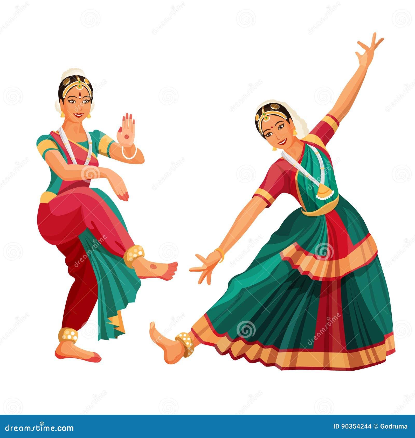 Woman Dancer In National Indian Cloth Dancing Bharatanatyam Folk Dance Stock Vector Illustration Of Bharatanatyam Ethnicity 90354244