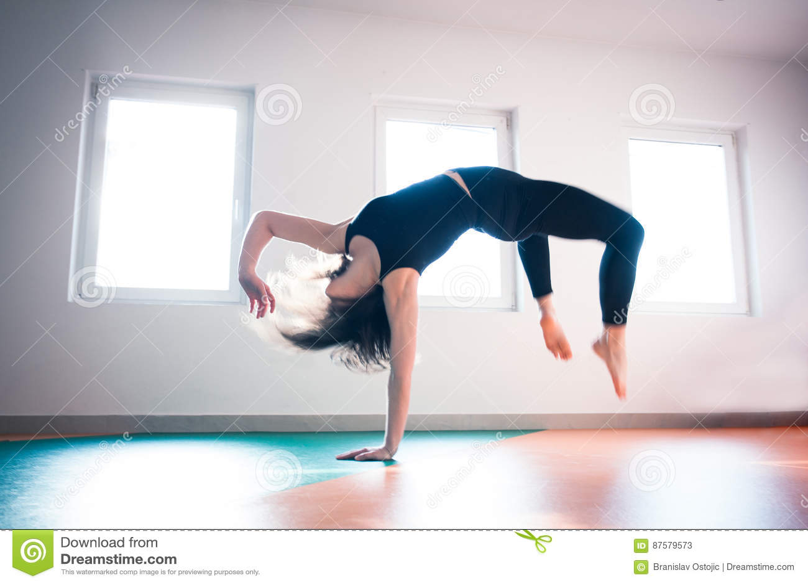 Woman Dancer Practice Floor Jump On Ballet Class Stock Image Image