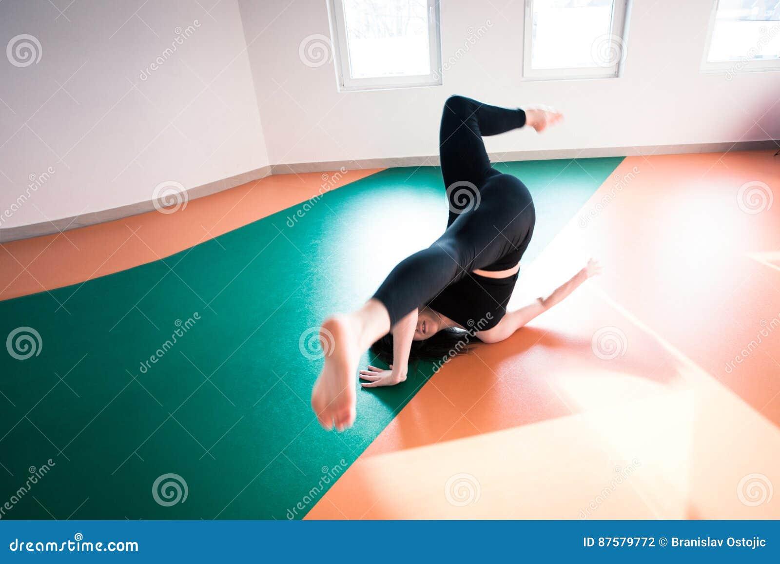 Woman Dancer Practice Floor Jump On Ballet Class Stock Photo Image