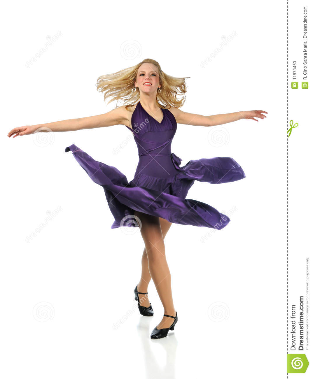 Woman dancing wearing purple dress isolated over white background