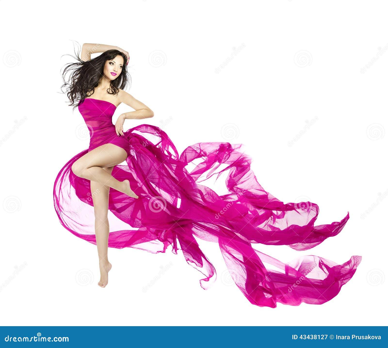 Woman dancing in fluttering dress, fashion model dancer with wav
