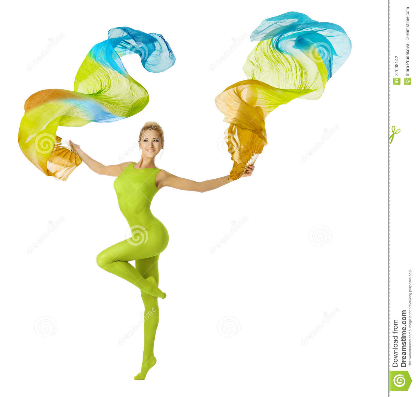 Woman dancing with flying colorful fabric, white b