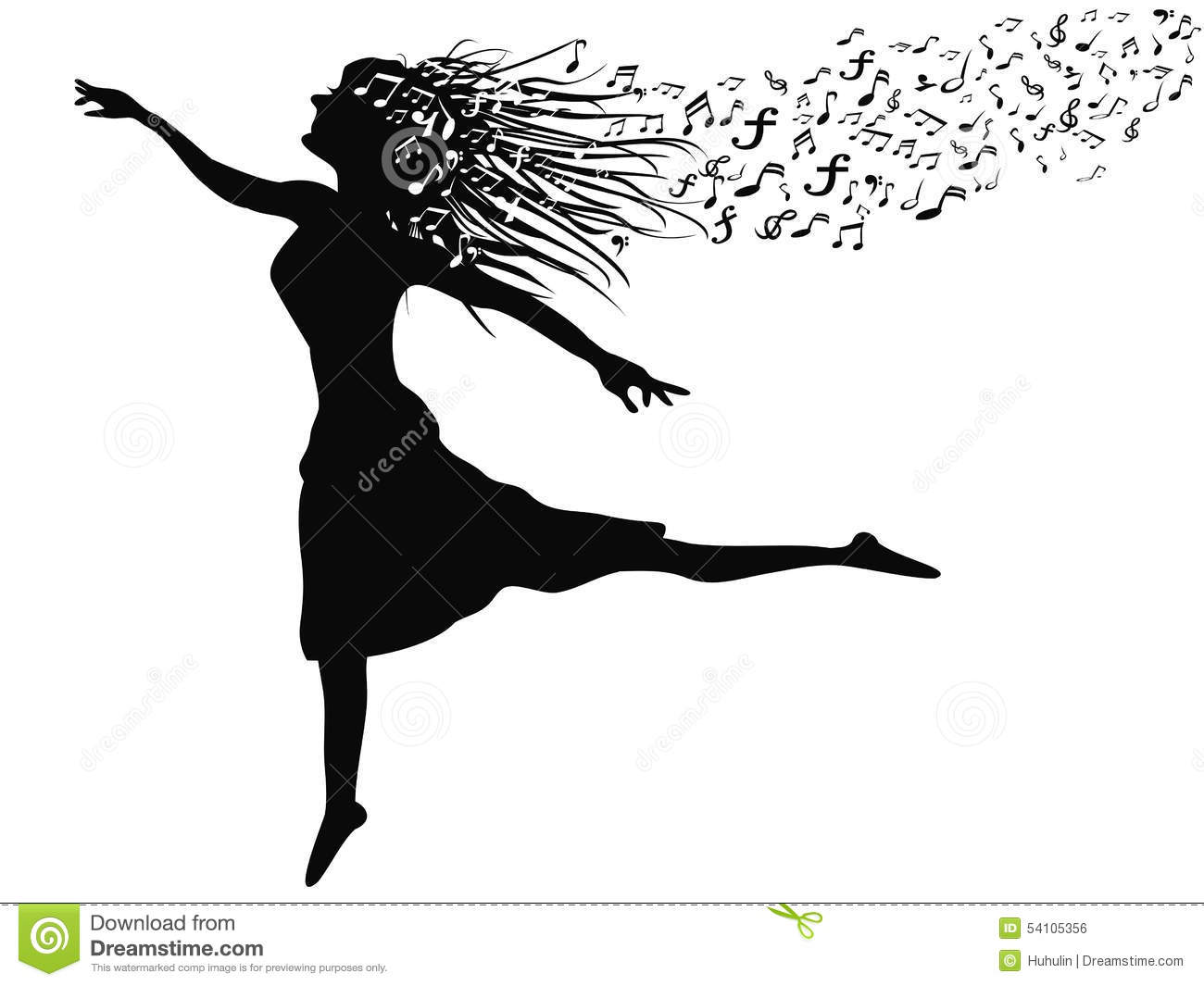 Silhouette Dance Music Abstract Background: Woman Dancing With Music Note Stock Vector