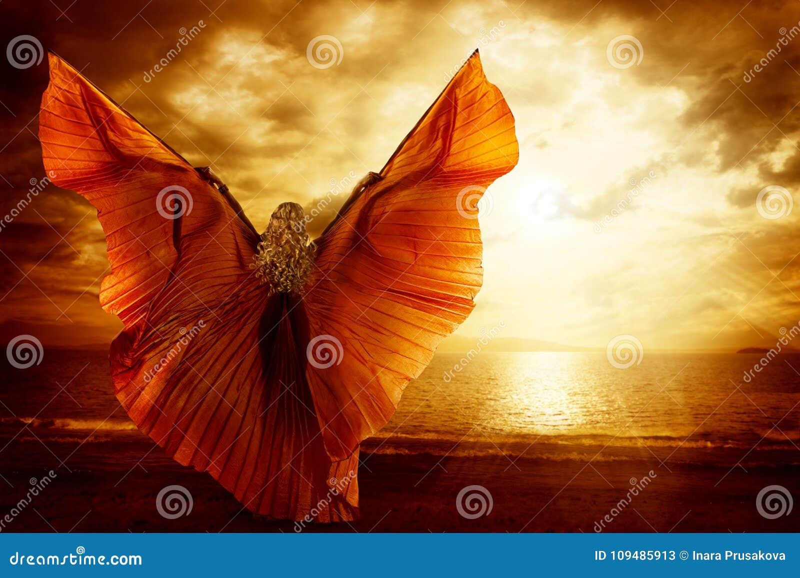 Woman Dancing Wings Dress, Fashion Art Model Flying on Ocean Sky