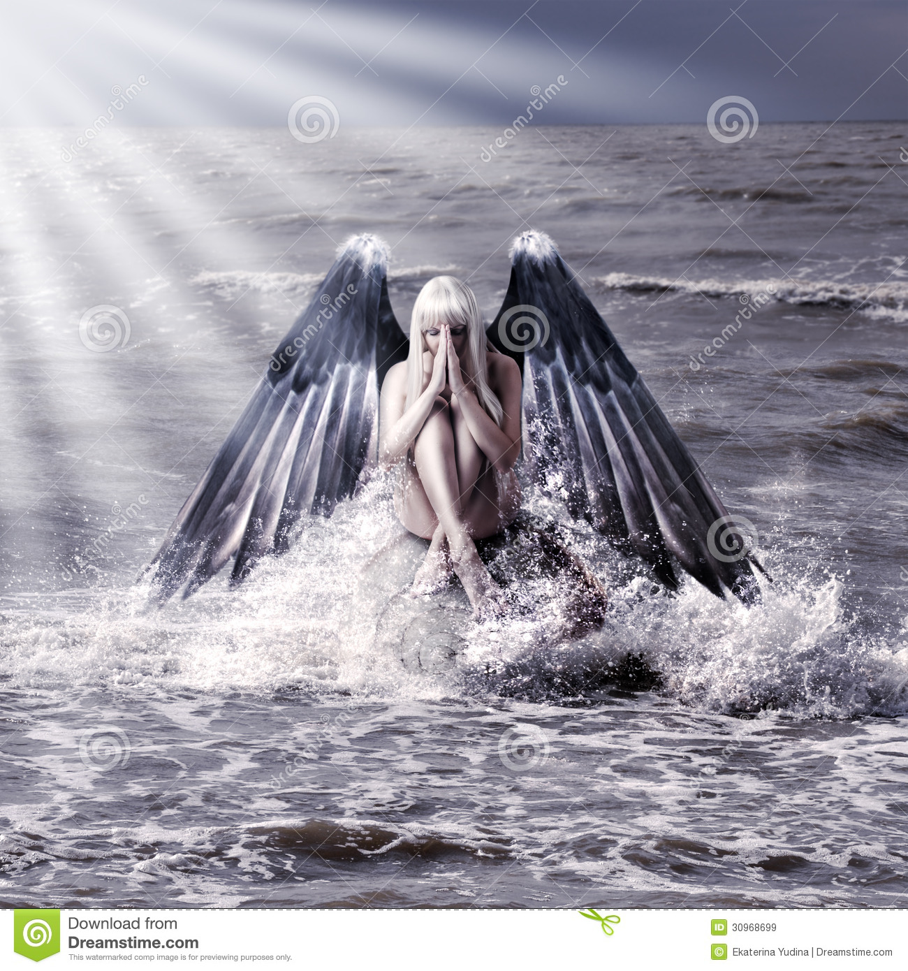 Woman With Dark Angel Wings Stock Image Image 30968699