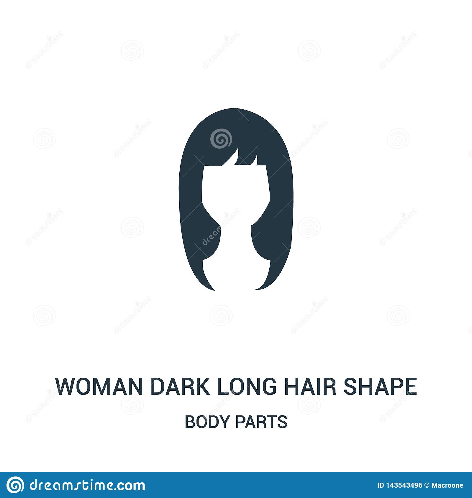 woman dark long hair shape icon vector from body parts collection. Thin line woman dark long hair shape outline icon vector