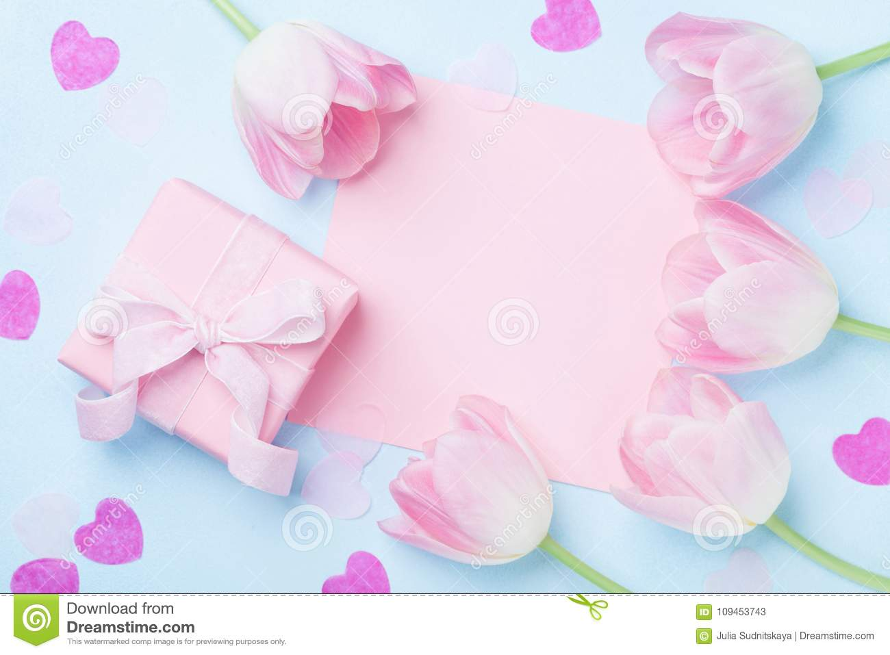 Woman Day Background Gift Or Present Box Pink Paper List Hearts