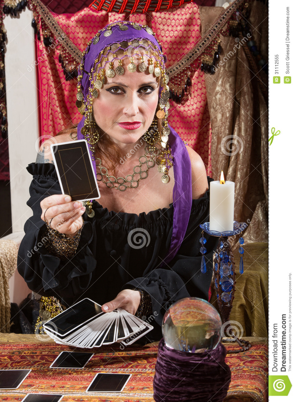 Woman Dealing Tarot Cards Royalty Free Stock Photo