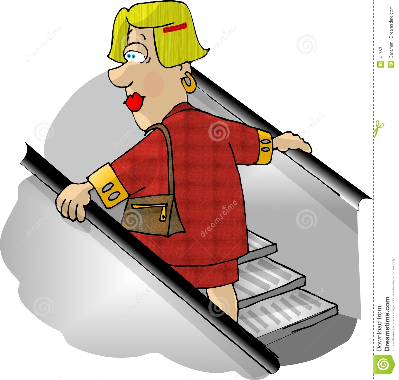 Woman on a department store escalator