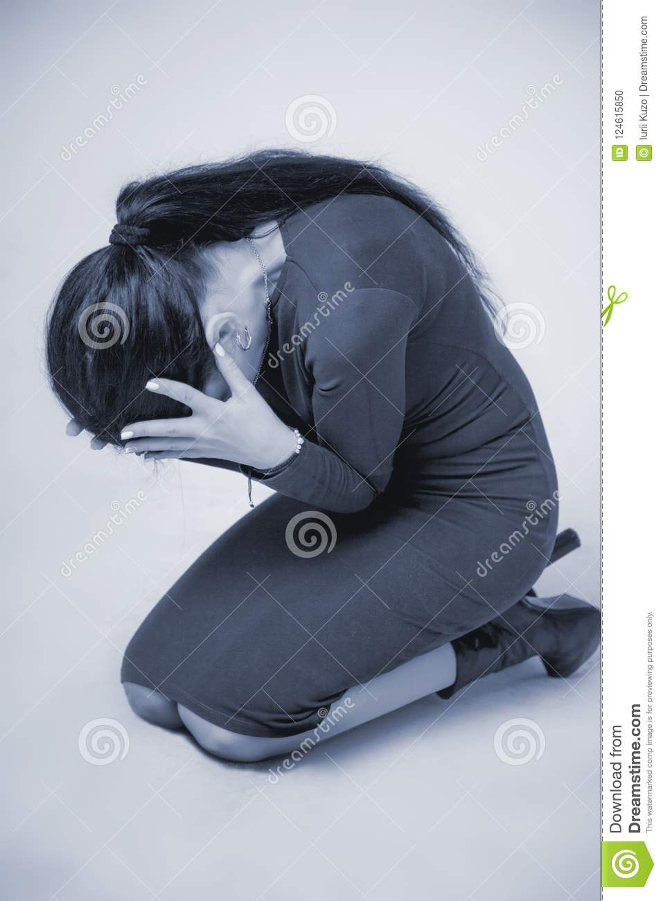 Woman in depression alone with problems difficulties, psycholo