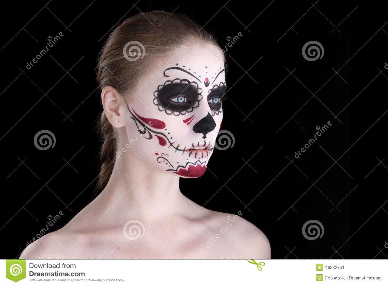 woman with dia de los muertos makeup black empty space. Black Bedroom Furniture Sets. Home Design Ideas