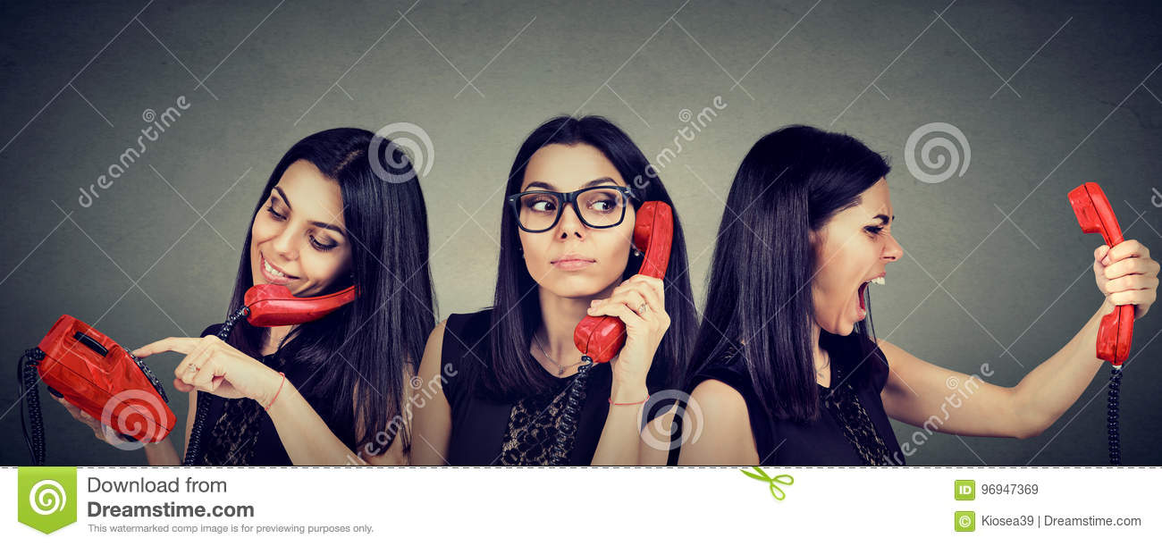 Woman dialing number on vintage telephone curiously listening and getting angry screaming on the phone