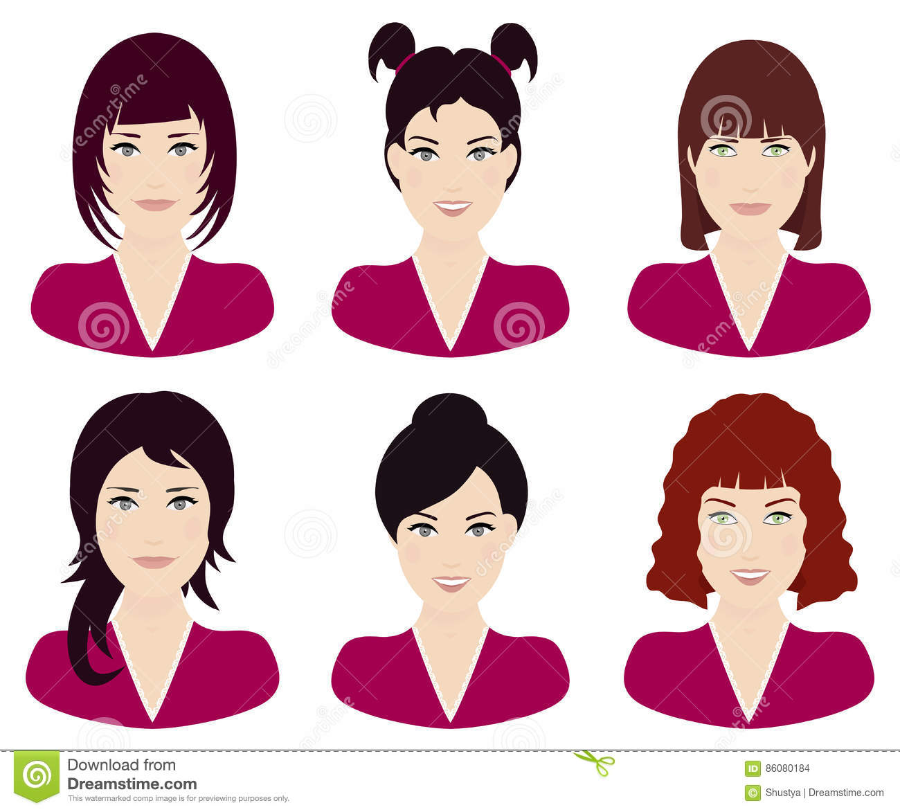 Woman With Different Hair Color And Hairstyles Vector Stock Vector ...