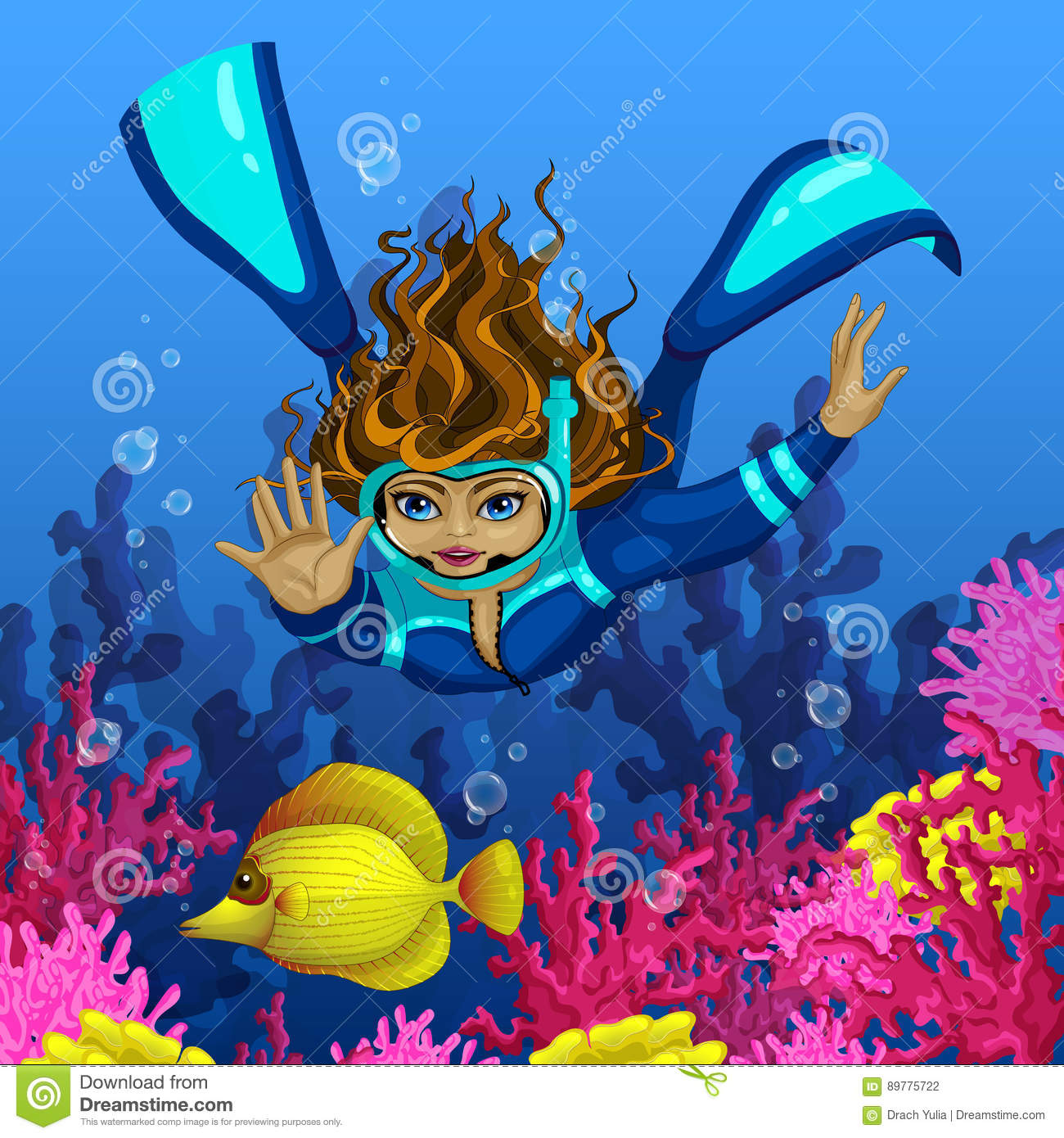 Cartoon tropical fish beautiful underwater world stock illustrations woman diver dives for yellow tropical fish against the backdrop of pink coral vector publicscrutiny Images