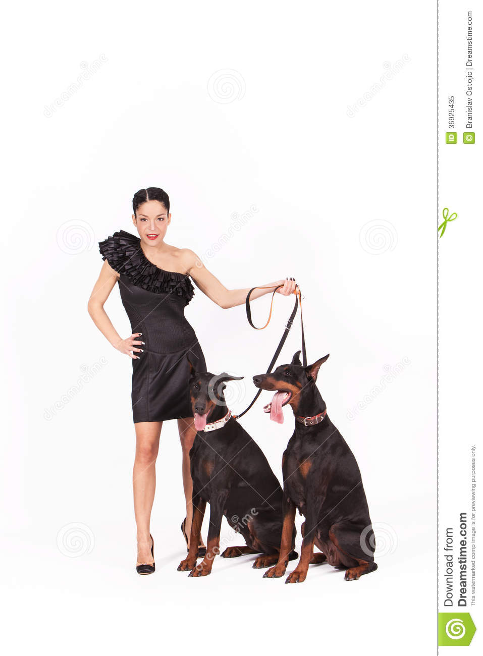 Woman With Doberman Royalty Free Stock Photo Image 36925435