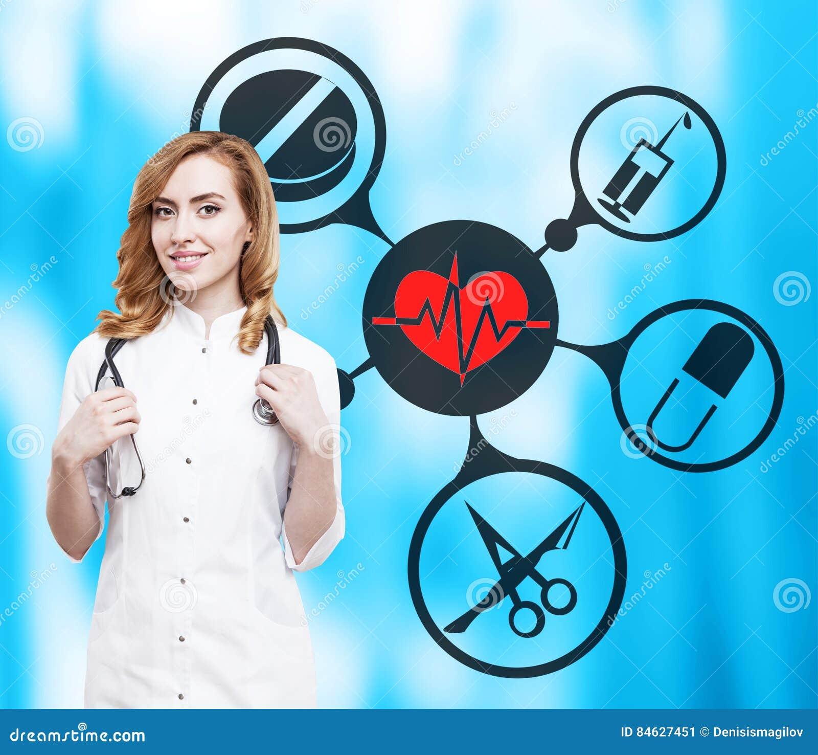 Woman doctor and medical icons on blue stock image image 84627451 royalty free stock photo buycottarizona