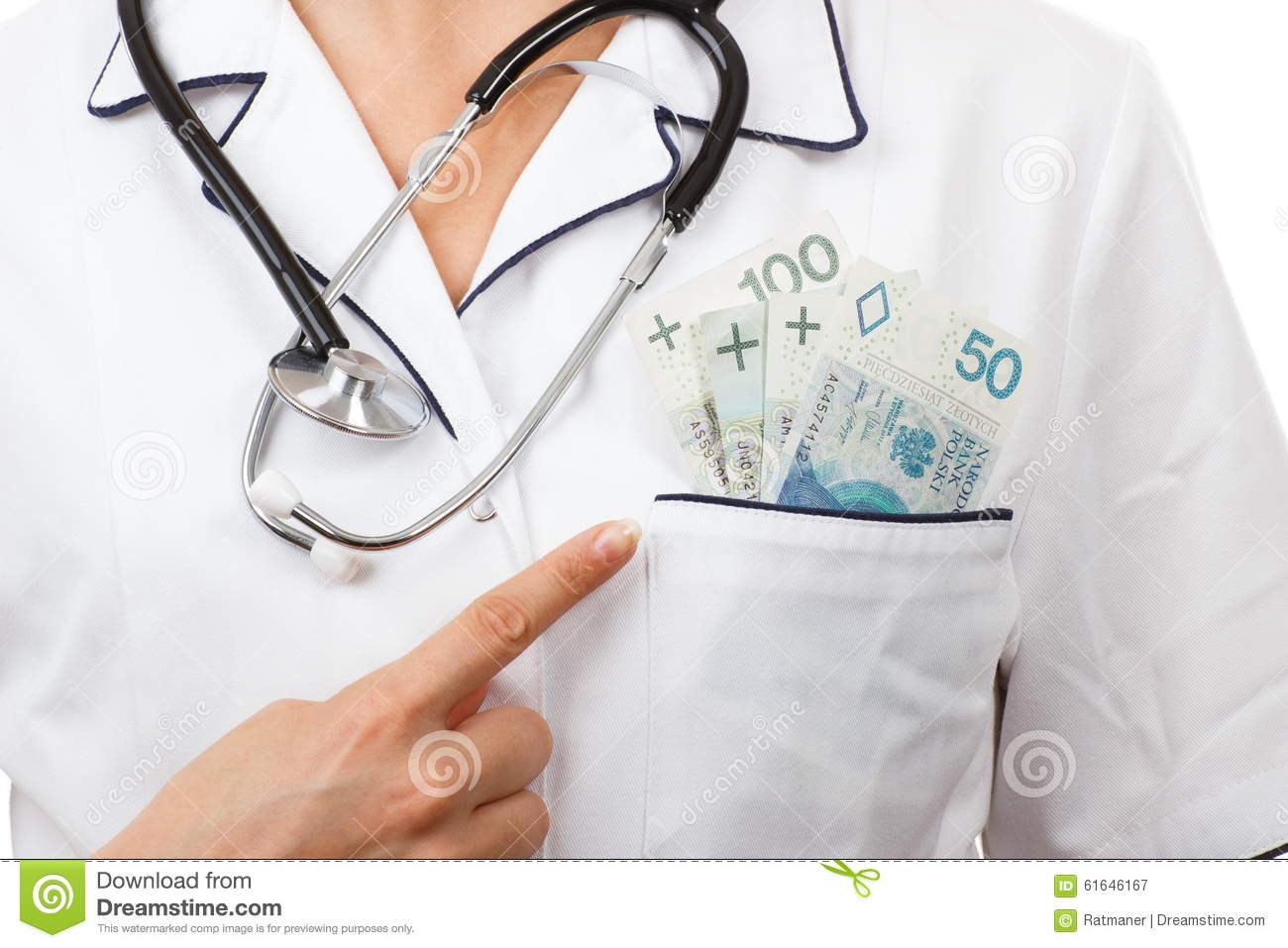 White apron health - Woman Doctor With Stethoscope Showing Polish Currency Money In Apron Pocket Corruption Or Bribe Concept