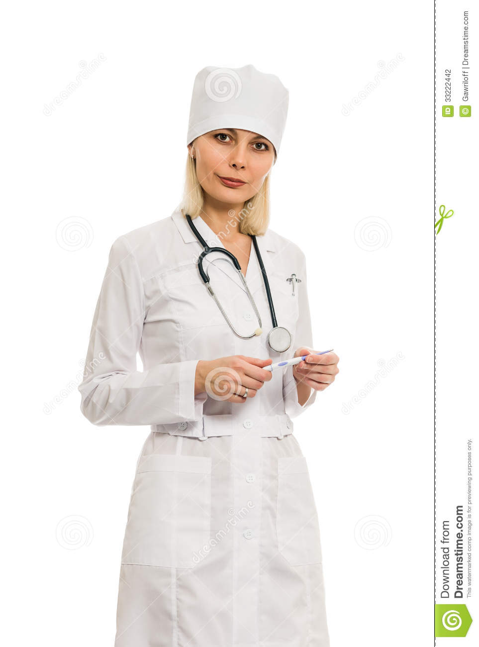 Woman doctor in a white coat isolated on white background