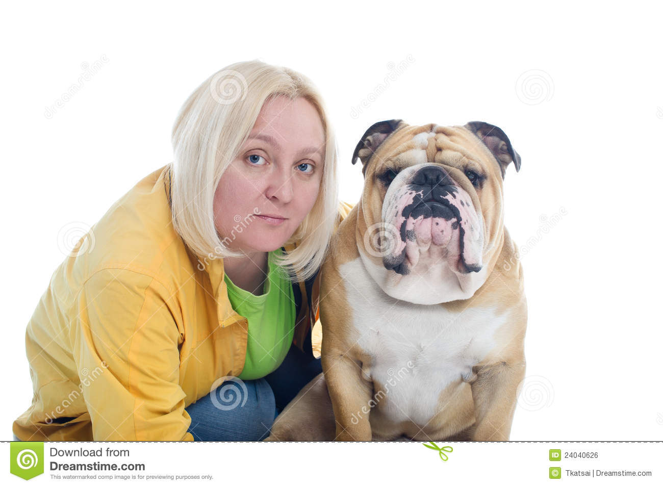 Royalty Free Stock Image: Woman with a dog english bulldog isolated