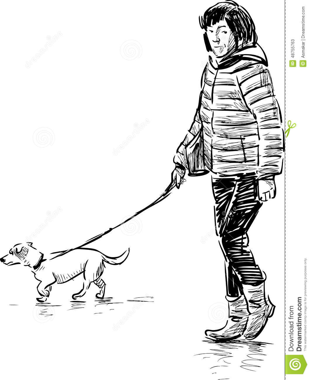 Woman with a dog on a walk stock vector. Illustration of domestic ... fc8b743efe