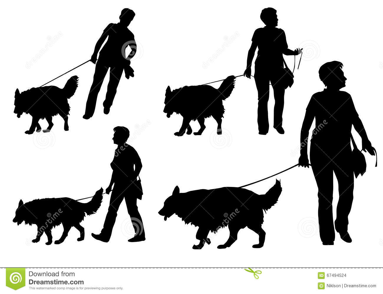 Sillouette Woman Walking A Dog