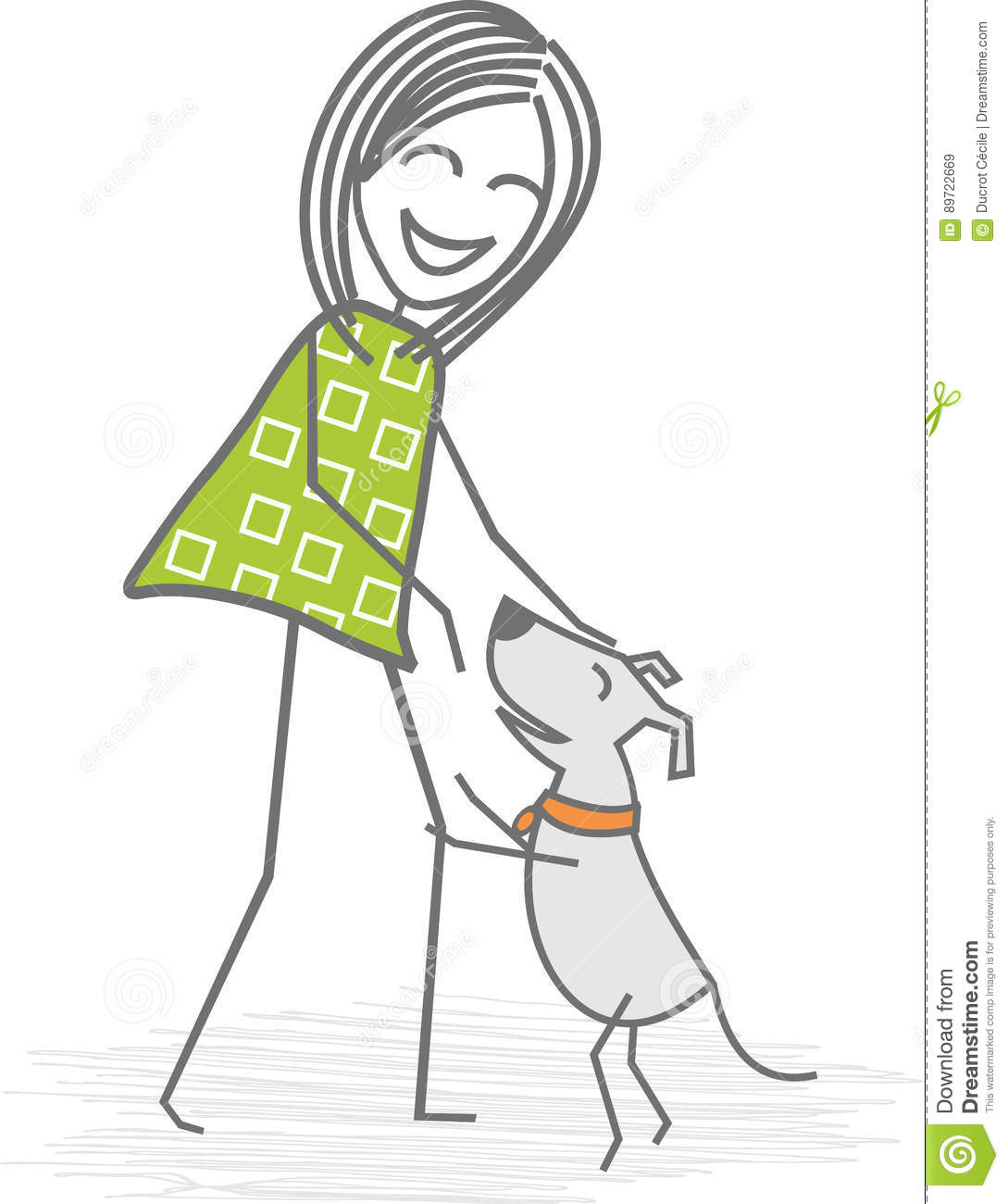 Woman with a dog stock vector. Illustration of walk 4ffed57b7d