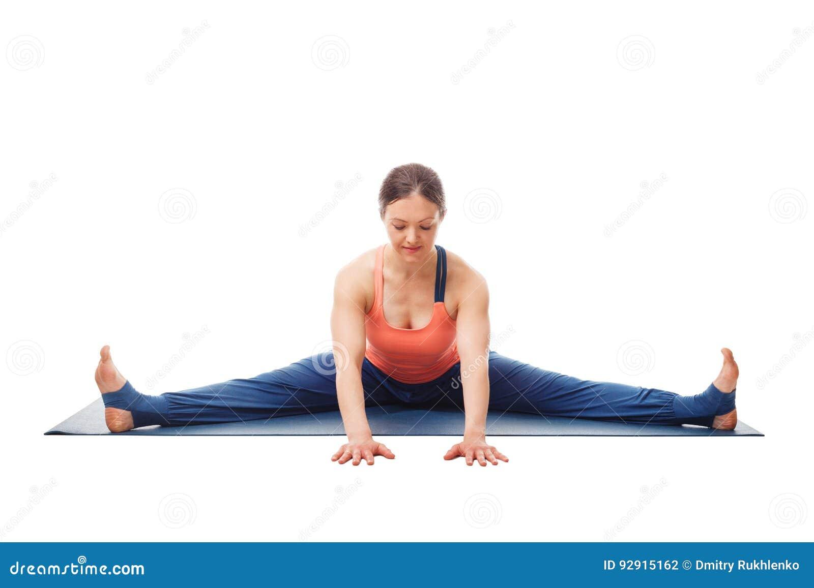 Download Woman Doing Ashtanga Vinyasa Yoga Asana Upavistha Konasana Stock Photo