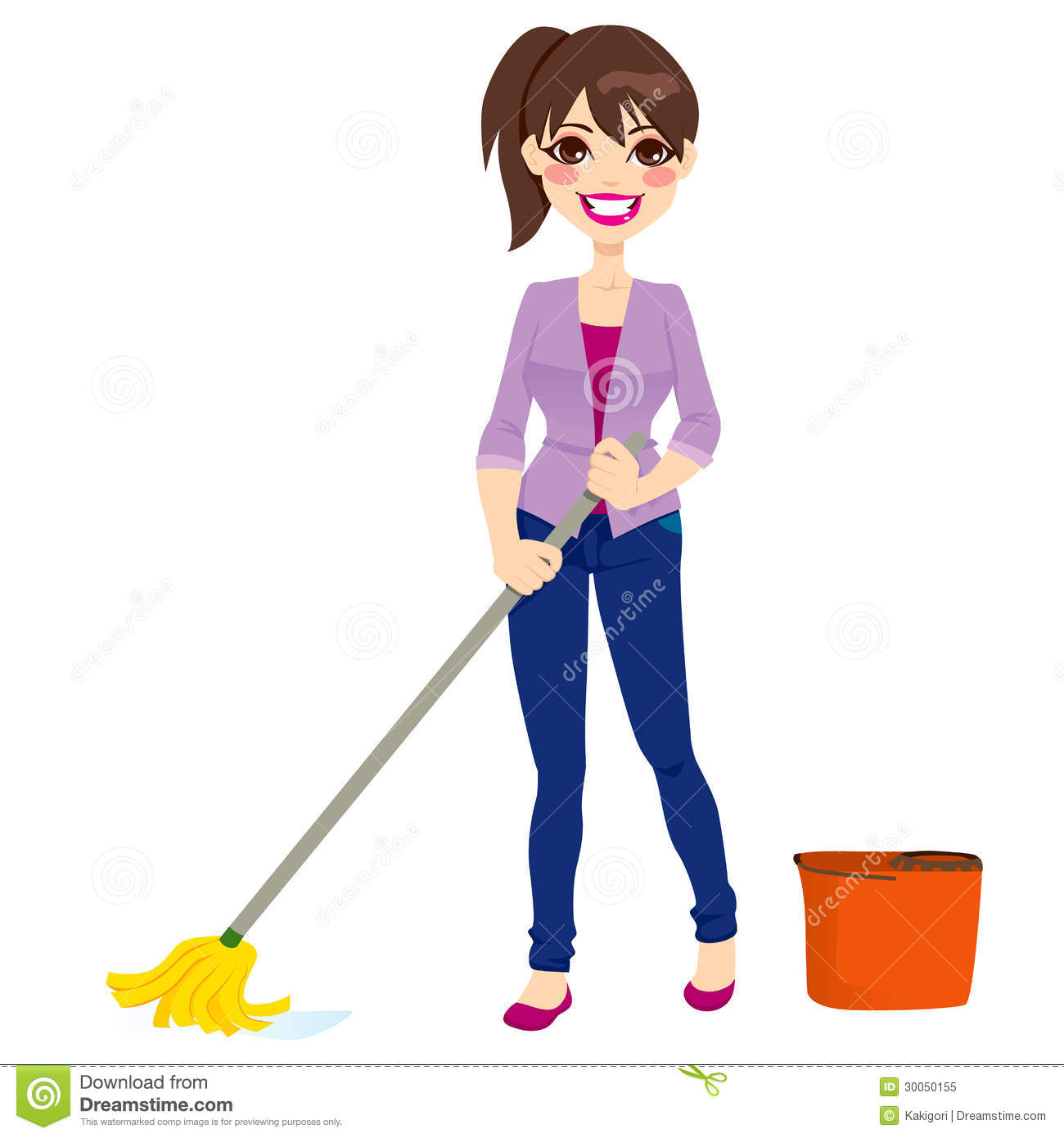 Woman Cleaning Floor Royalty Free Stock Photo - Image: 30050155