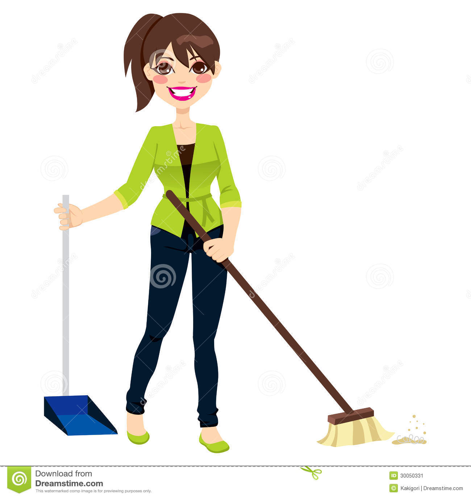 Woman Sweeping Floor Stock Image Image 30050331