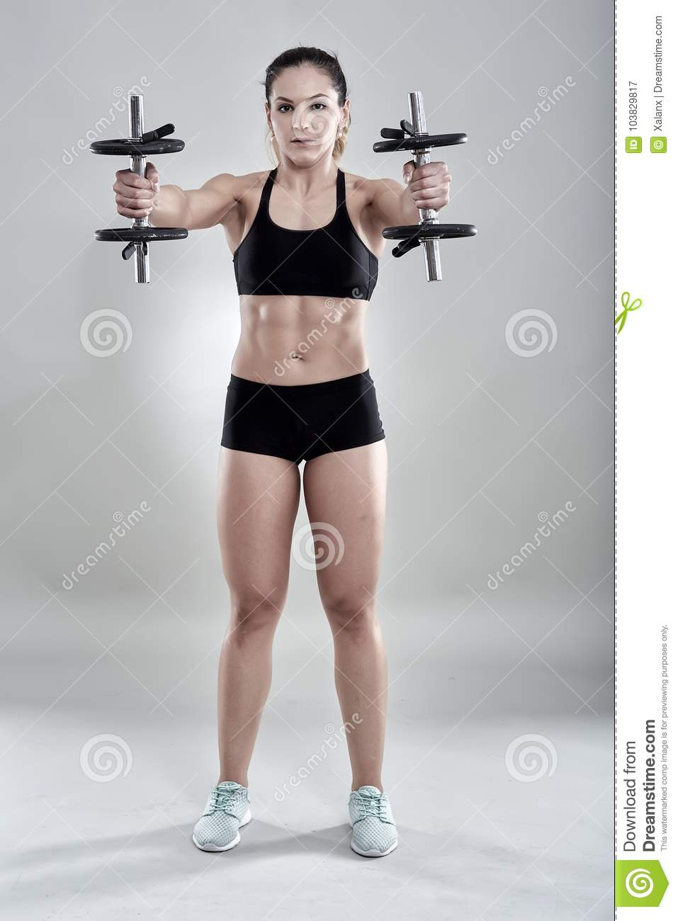 Download Woman Doing Delts Workout Stock Image Of Lifting