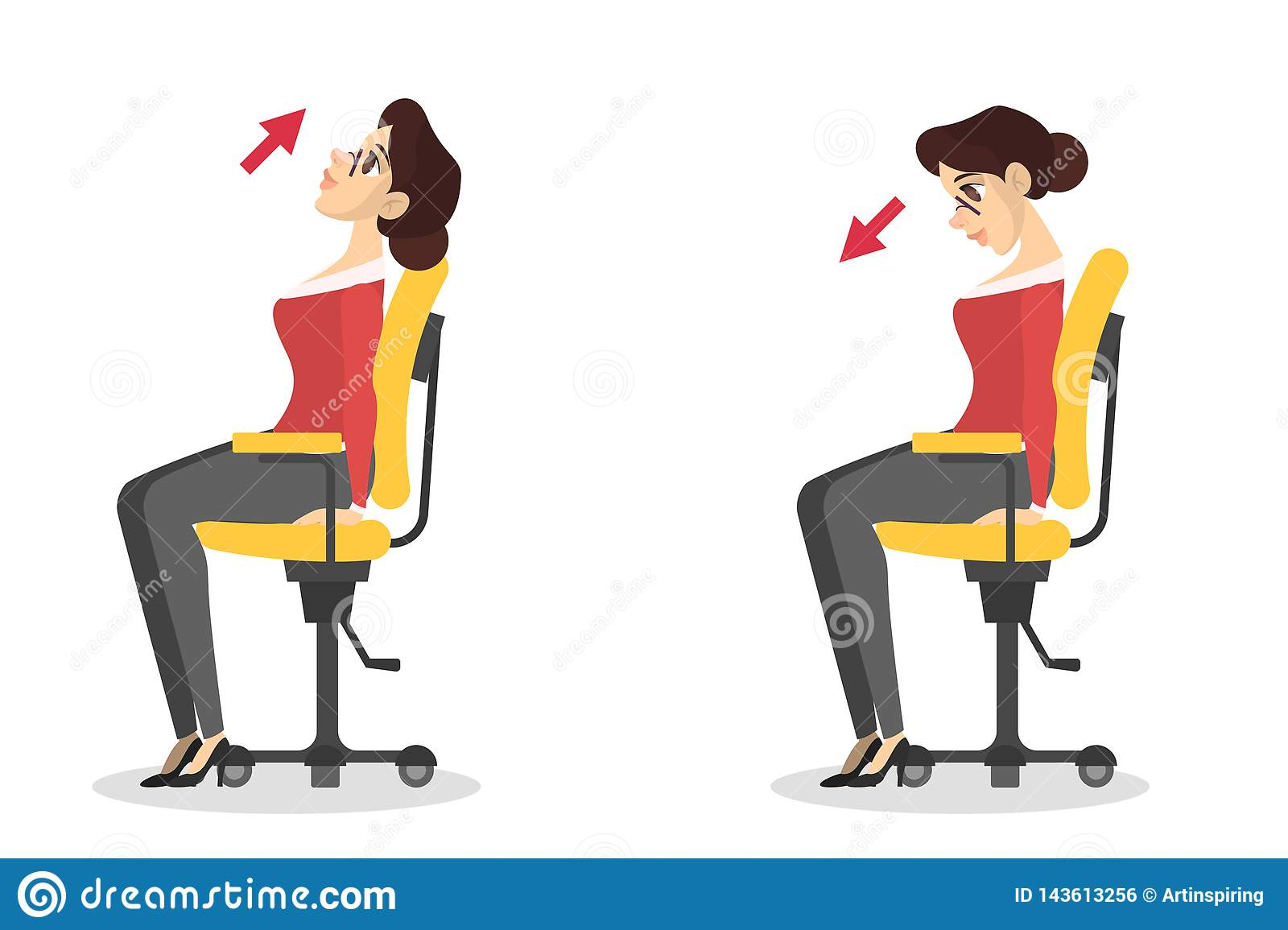 Woman Doing Exercise For Neck Stretch In Office Stock Vector Illustration Of Cartoon Healthy 143613256