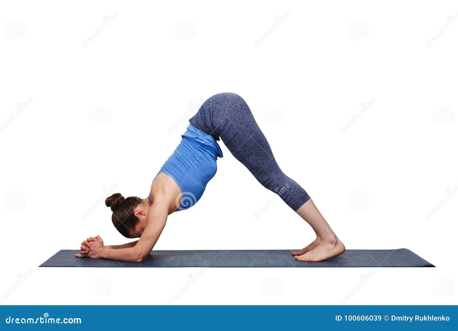 Woman Doing Hatha Yoga Surya Namaskar Sun Salutation Asana Adhomukha Svanasana Variation
