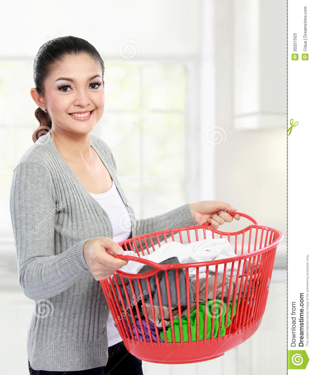 Woman With A Basket Of Loundry Stock Photos Image 30251503