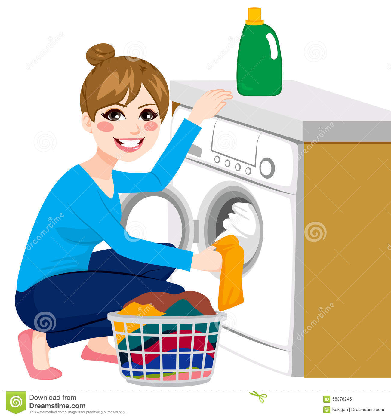 Appliance Colors Woman Doing Laundry Stock Vector Image 58378245