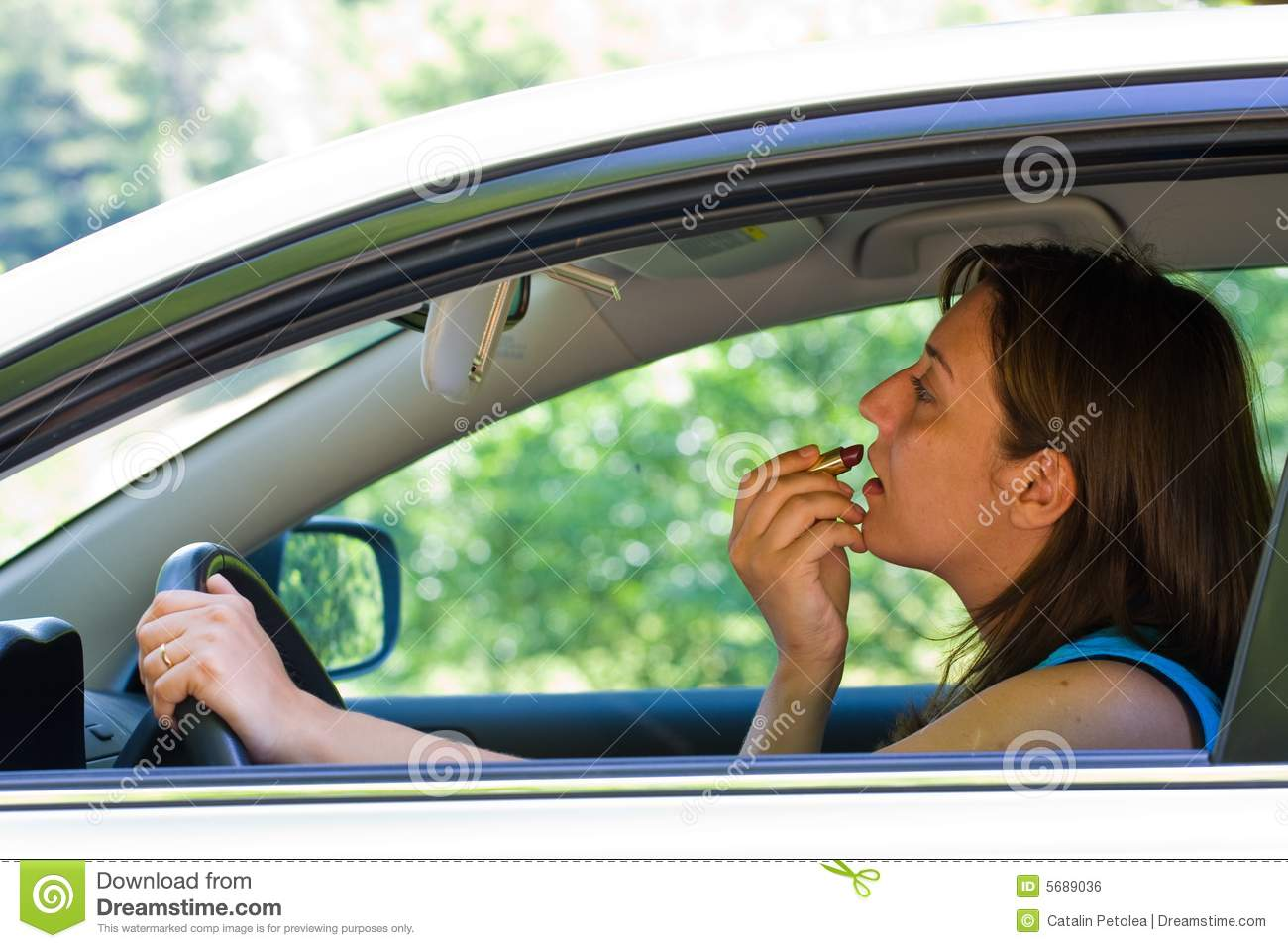 Car Insurance Prices >> Woman doing make-up in car stock photo. Image of learn ...