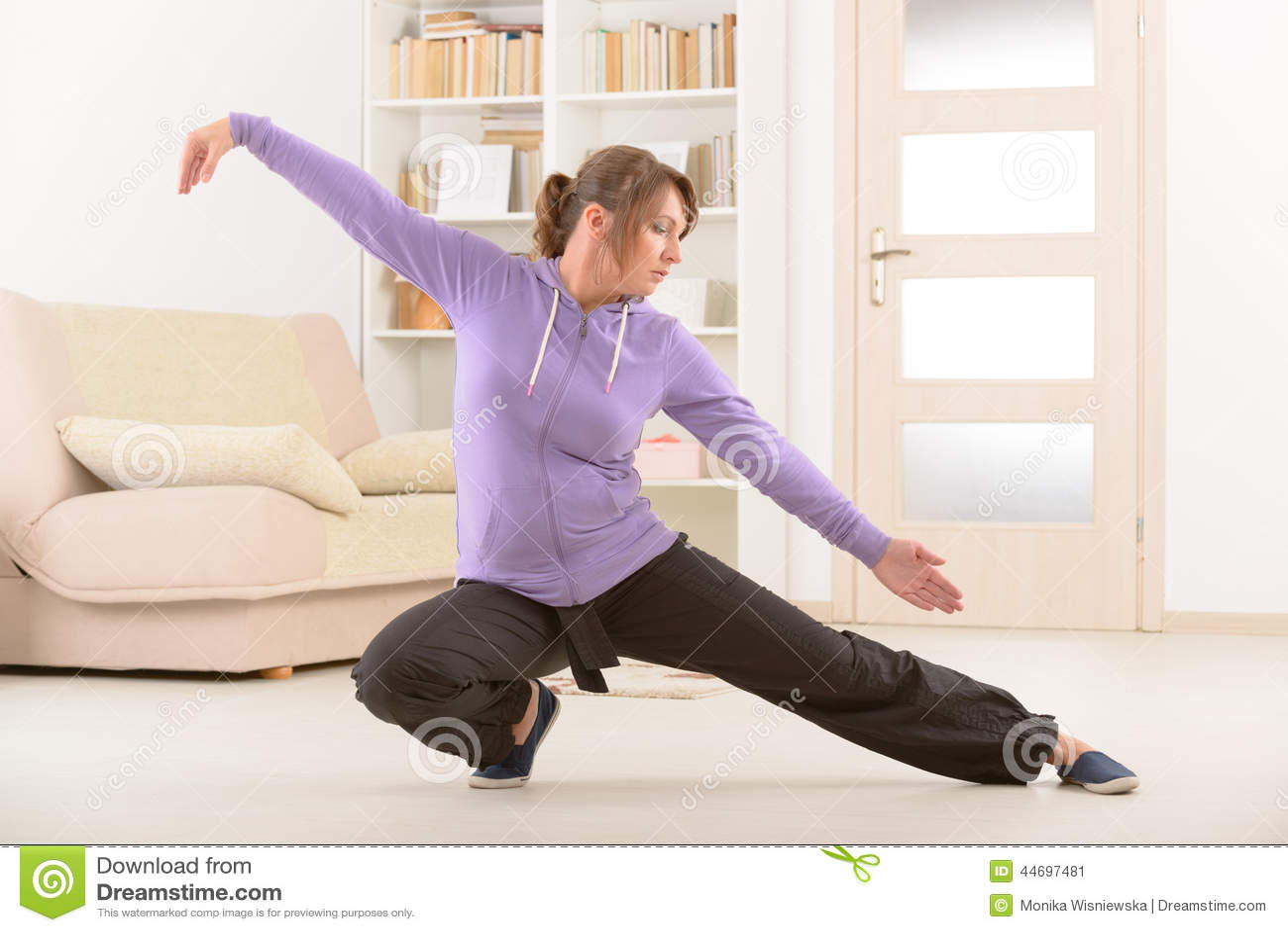 Woman Doing Qi Gong Tai Chi Exercise Stock Photo - Image: 44697481