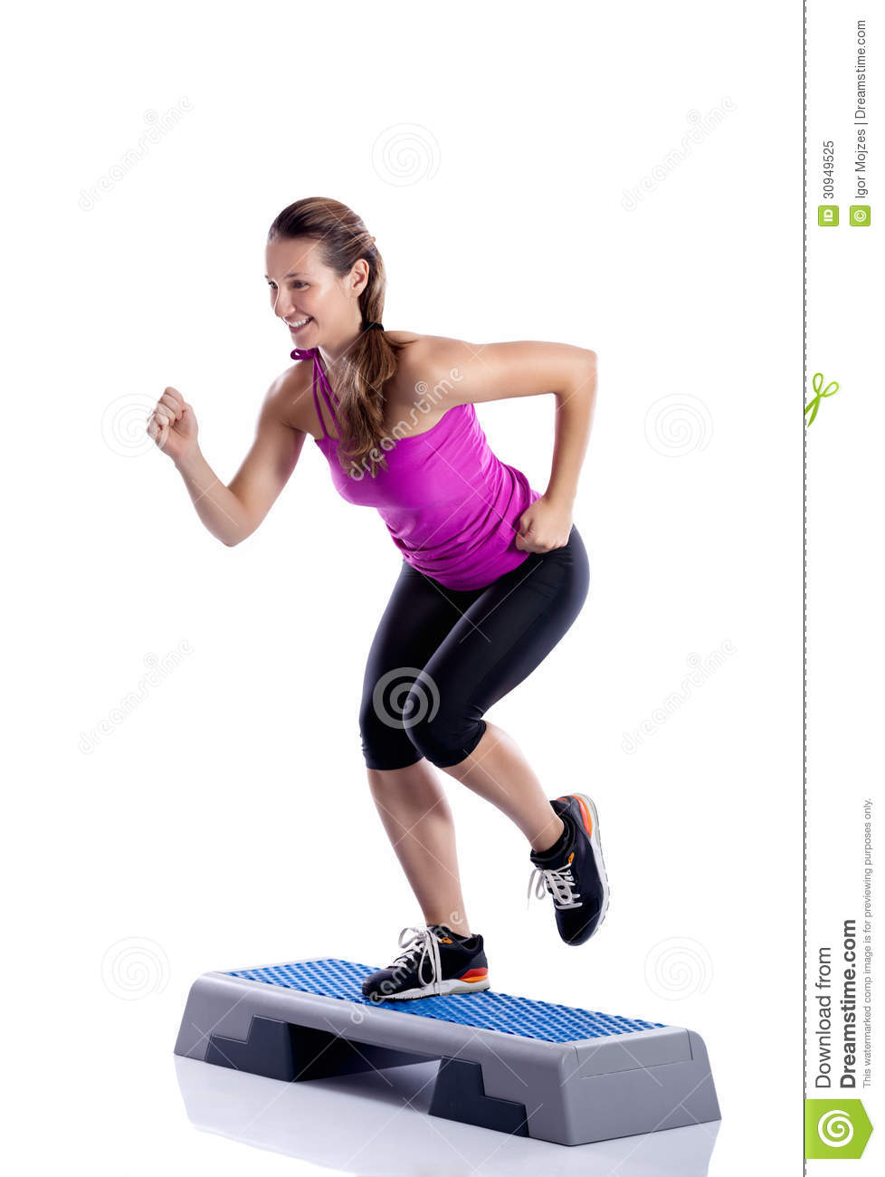 Step Workout: Woman Doing Step Exercise Stock Image. Image Of Health