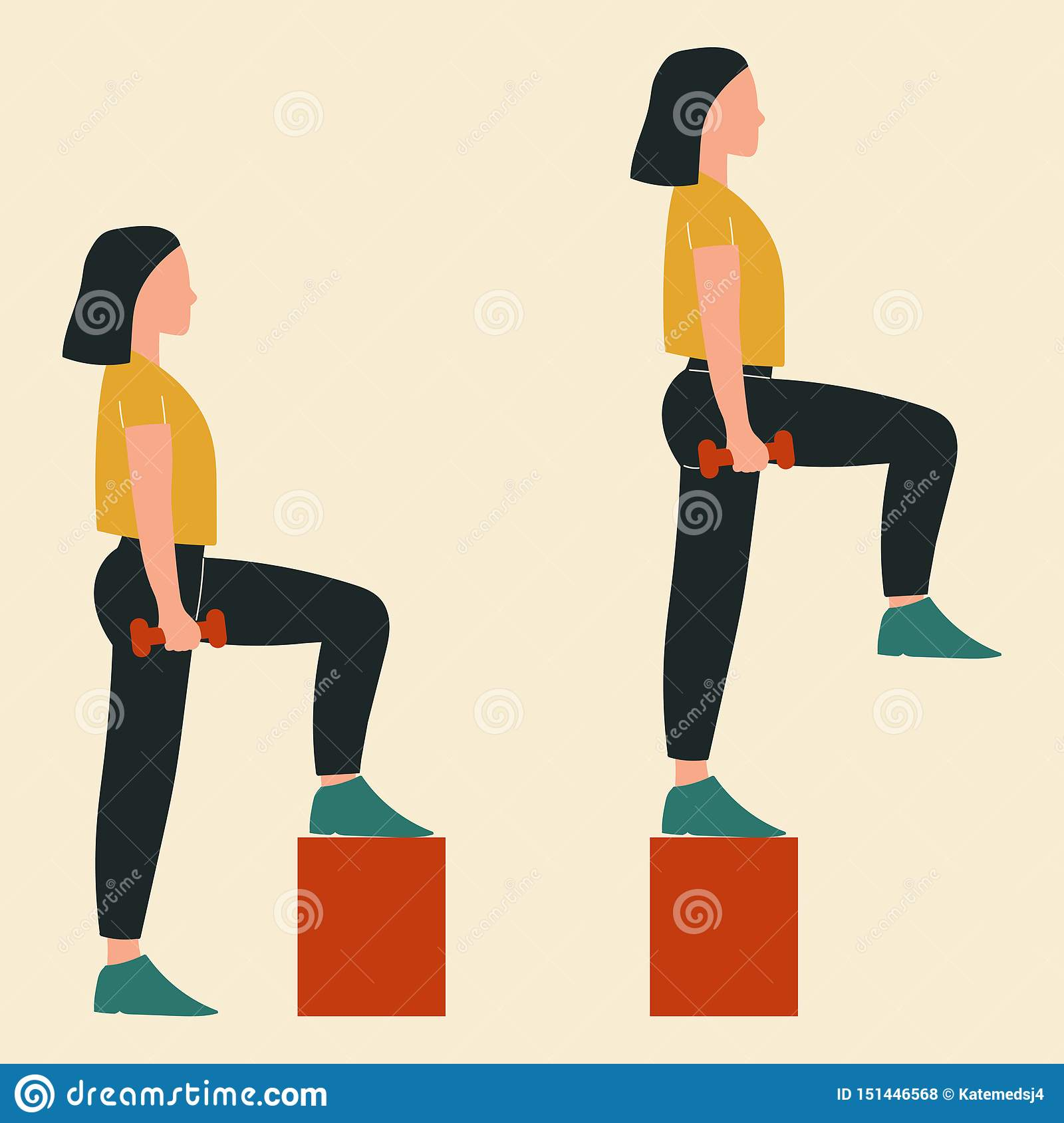 Woman doing steps-up. Illustrations of glute exercises and workouts. Flat vector illustration