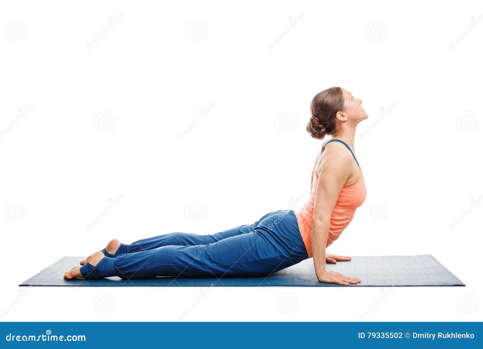 Woman Doing Surya Namaskar Sun Salutation Ashtanga Vinyasa Yoga Asana Urdhva Mukha Urhdvamukha Svanasana
