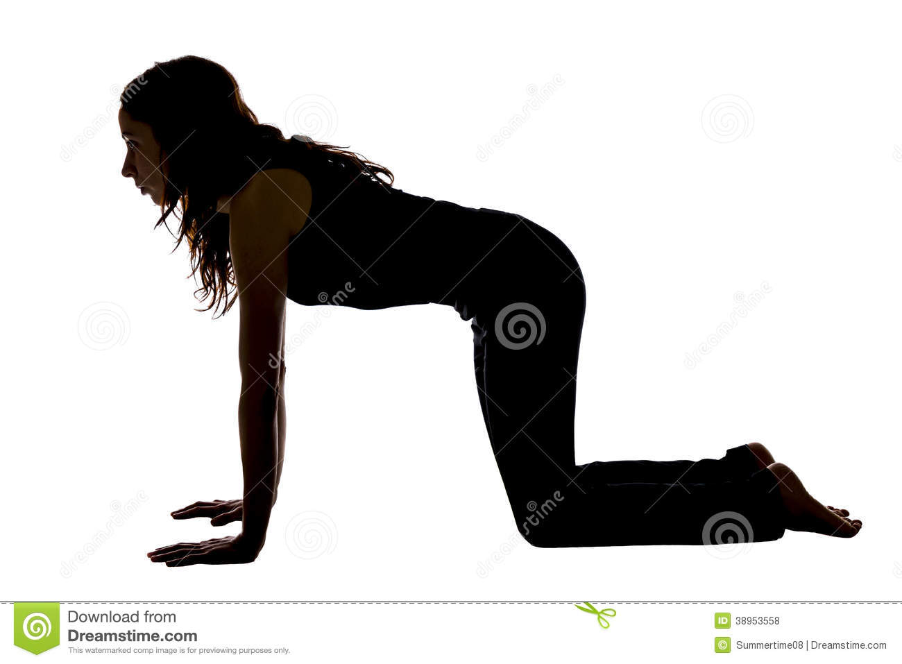 Woman doing table top position in yoga silhouette stock for Table yoga pose