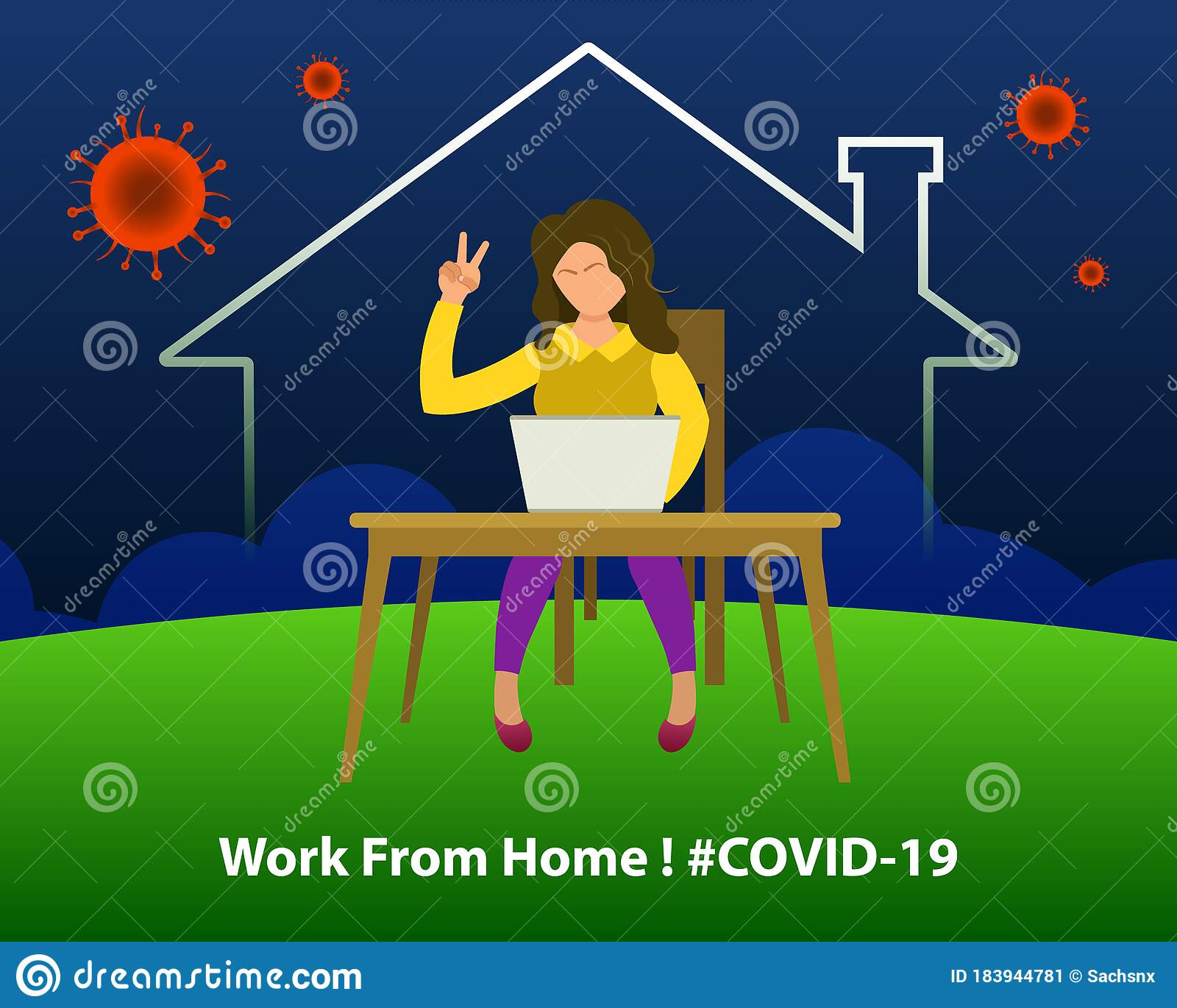 Woman Doing Work From Home Showing Victory Sign. Stay Home
