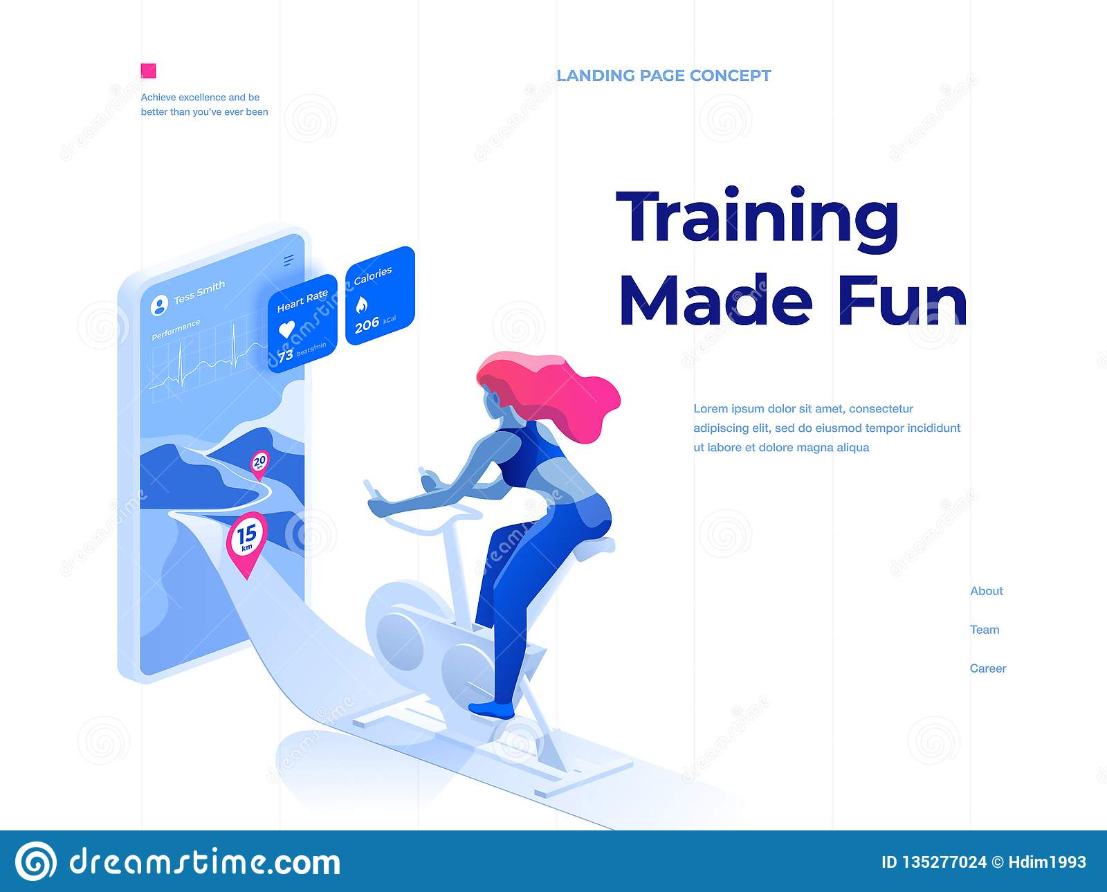 A woman doing a workout on a bike-trainer and using a mobile application to watch out her performance. Landing page concept.