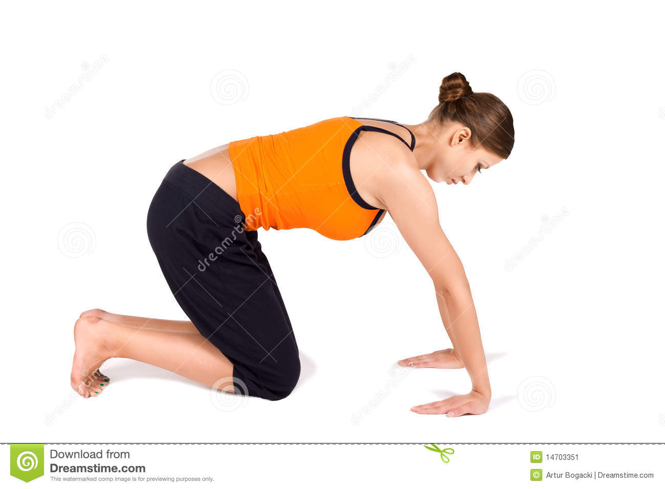 Young fit woman doing wrist strengthening exercise on white isolated ...