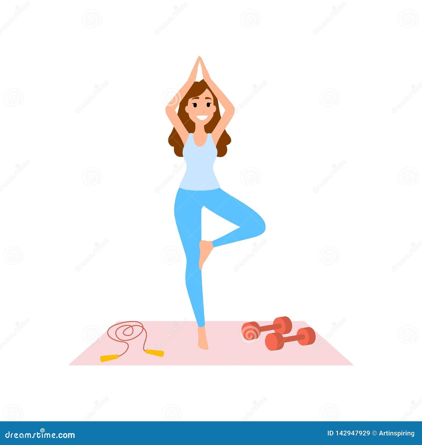 Woman Doing Yoga Exercise Meditation Pose And Body Stock Vector Illustration Of Gymnastics Meditation 142947929