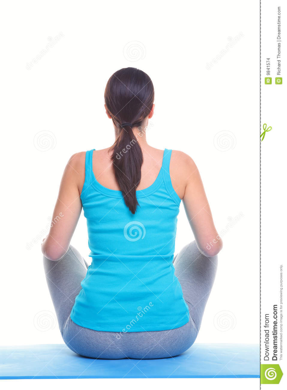 Woman Doing Yoga Rear View Stock Images Image 9841574