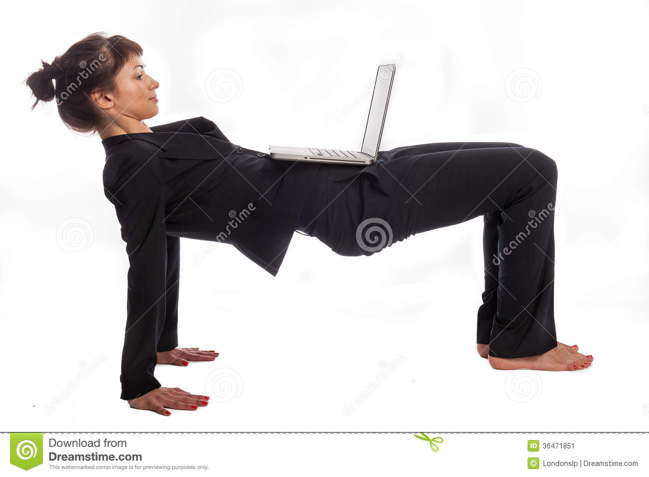Multi tasking woman in yoga pose. Isolated on white background.