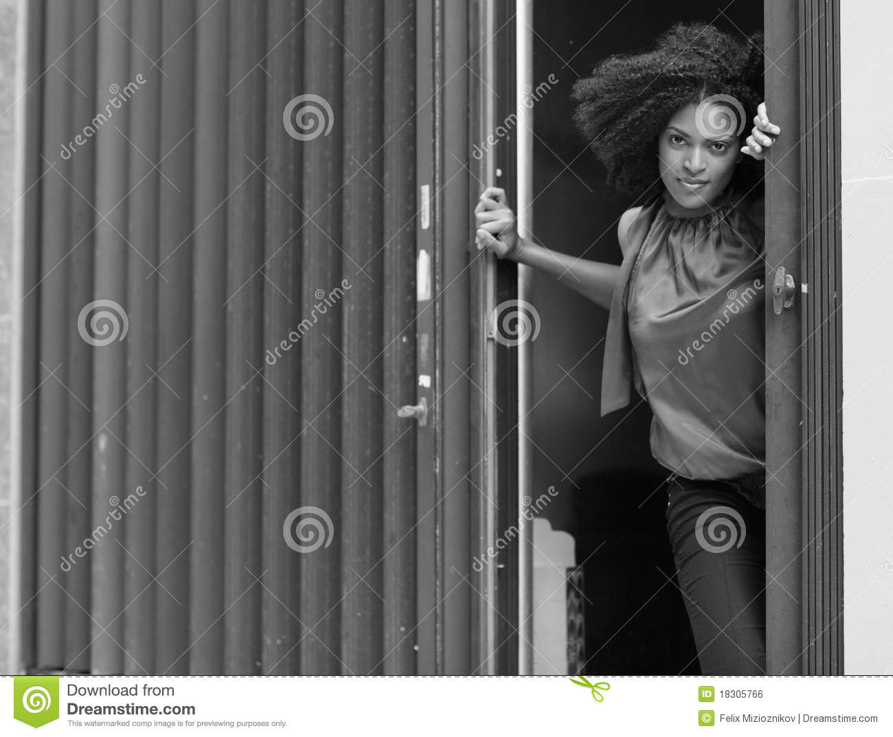 Woman by the door Royalty Free Stock Image