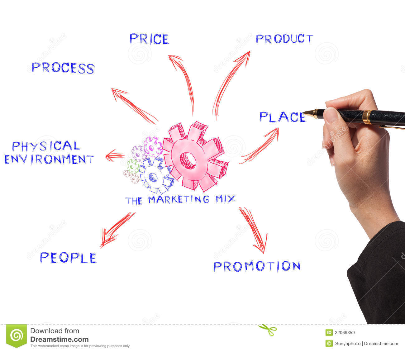 Pricing Process: Woman Drawing Business Process, Marketing Mix Royalty Free